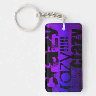 Crazy; Vibrant Violet Blue and Magenta Double-Sided Rectangular Acrylic Keychain