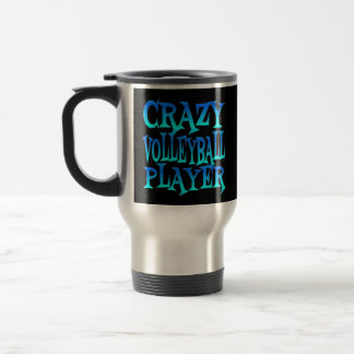 Crazy Volleyball Player in Blue Travel Mug