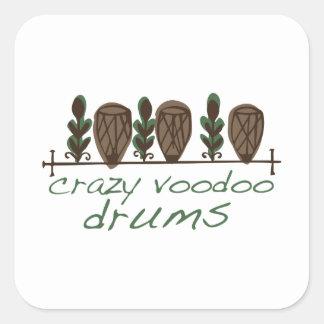 Crazy Voodoo Drums Square Sticker