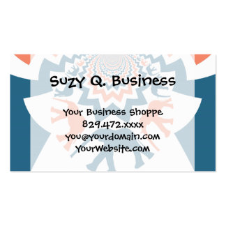Crazy Walking Elephants Coral Blue Chevron Pattern Business Card