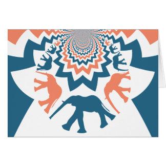 Crazy Walking Elephants Coral Blue Chevron Pattern Card