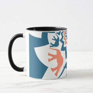 Crazy Walking Elephants Coral Blue Chevron Pattern Mug