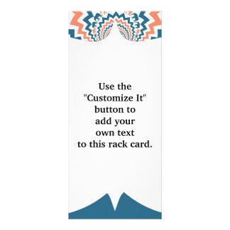 Crazy Walking Elephants Coral Blue Chevron Pattern Rack Card Design