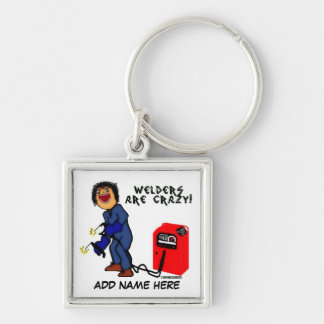 Crazy Welder Cartoon Silver-Colored Square Keychain