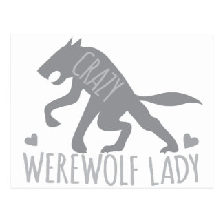 Crazy Werewolf Lady Postcard