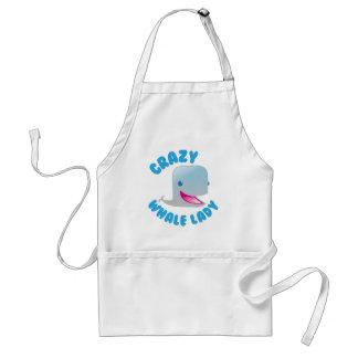 crazy whale lady adult apron