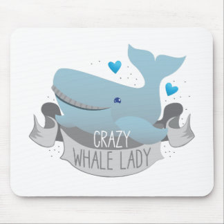 crazy whale lady mouse pad