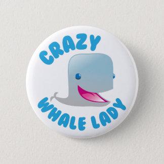 crazy whale lady pinback button