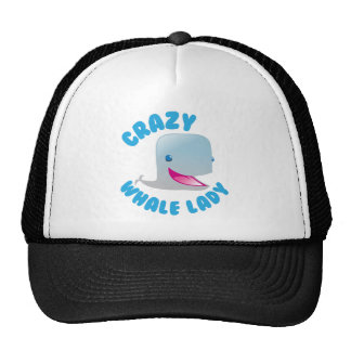 crazy whale lady trucker hat