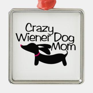 Crazy Wiener Dog Mom Dachshund Christmas Ornament