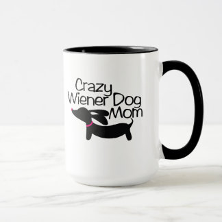 Crazy Wiener Dog Mom Ringer Coffee Mug