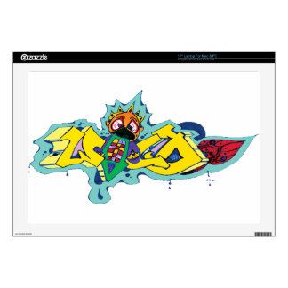 "Crazy Wild Eyed Graffiti Character Skin For 17"" Laptop"