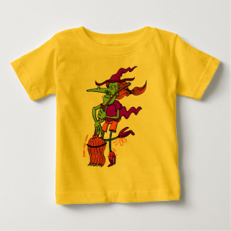 Crazy Witch Dancing with her Broomstick Baby T-Shirt