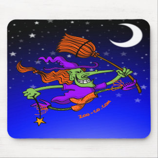 Crazy Witch Jumping for Joy Mousepads