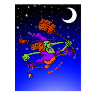 Crazy Witch Jumping for Joy Postcard