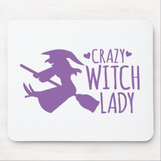 Crazy Witch Lady Mouse Pad