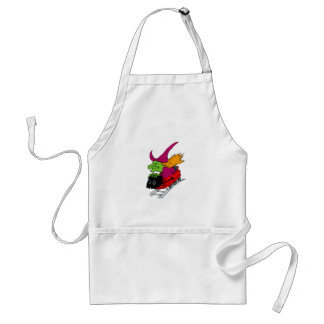 Crazy witch on roller coaster aprons