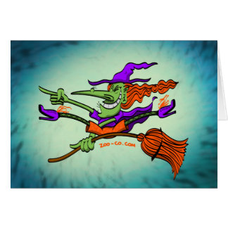 Crazy Witch Riding her Broomstick Greeting Cards