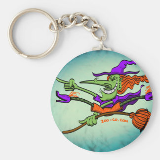 Crazy Witch Riding her Broomstick Keychains