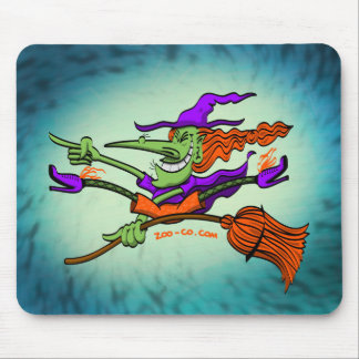 Crazy Witch Riding her Broomstick Mouse Pads