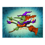 Crazy Witch Riding her Broomstick Postcard