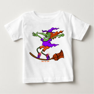 Crazy Witch Surfing on her Broom Baby T-Shirt