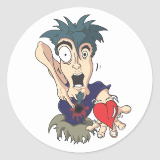 Crazy With Heart Classic Round Sticker