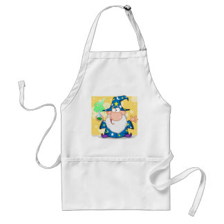 Crazy Wizard Holding A Green Magic Potion Adult Apron