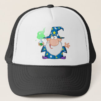 Crazy Wizard Holding A Green Magic Potion Trucker Hat