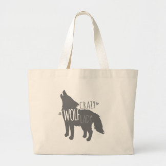 crazy wolf lady large tote bag