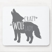 crazy wolf lady mouse pad