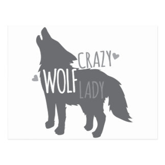 crazy wolf lady postcard