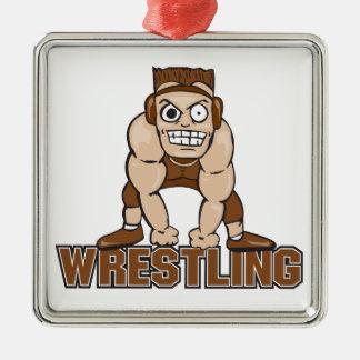 crazy wrestler wrestling design metal ornament