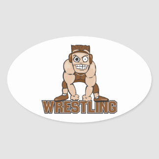 crazy wrestler wrestling design oval sticker