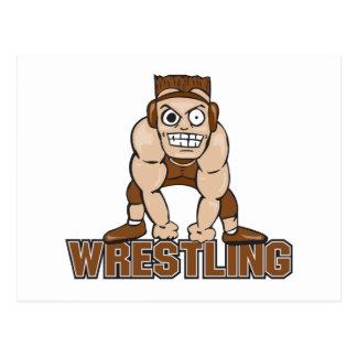 crazy wrestler wrestling design postcard