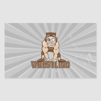 crazy wrestler wrestling design rectangular sticker