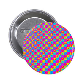 Crazy Yellow and Pink Pattern Pinback Button