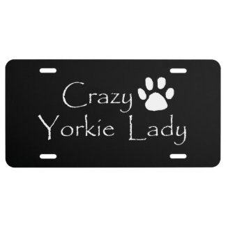 Crazy Yorkie Lady License Plate