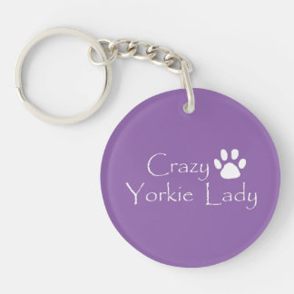 Crazy Yorkie Lady Single-Sided Round Acrylic Keychain