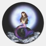 Crea a los pegatinas de la sirena etiqueta redonda