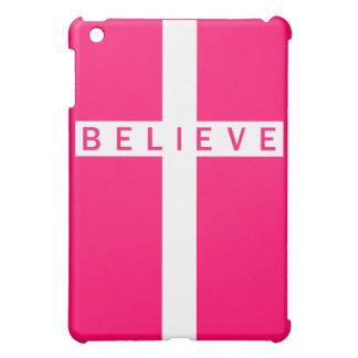 Crea el mini caso del iPad rosado blanco vertical