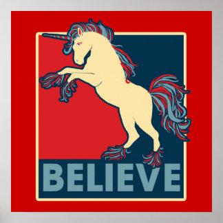 Crea en el unicornio póster