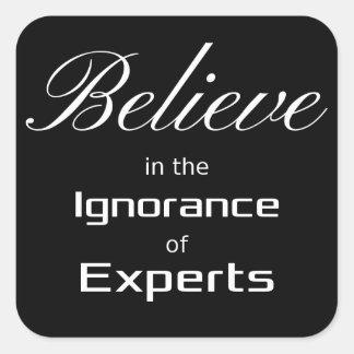 Crea en la ignorancia de expertos pegatinas cuadradases