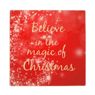 Crea en la magia de la cita del navidad posavasos de arce