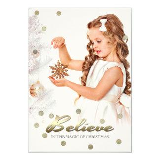 Crea en la magia del navidad. Tarjetas de la foto Invitación