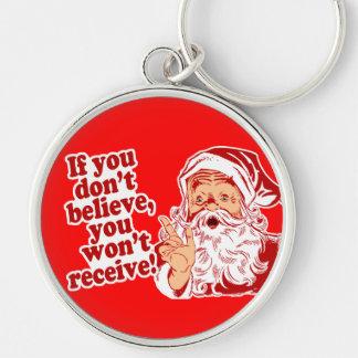 Crea en Santa, navidad Llavero Redondo Plateado