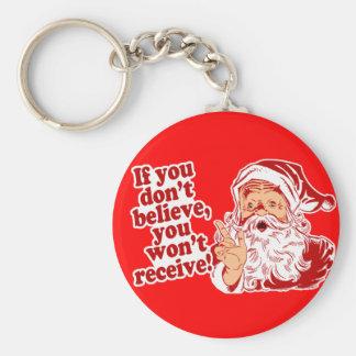 Crea en Santa, navidad Llavero Redondo Tipo Pin