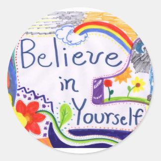 Crea en sí mismo a los pegatinas de motivación pegatina redonda
