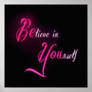 Crea en sí mismo - esté usted cita femenina del ta poster
