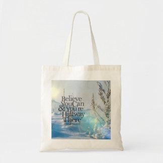 Crea en sí mismo la cita de motivación de la nieve bolsas de mano
